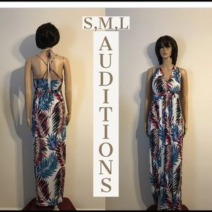 NWT Auditions Palm Print Maxi Dress